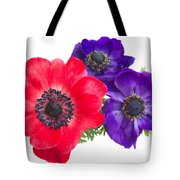 Red And Blue Anemone Flowers  Tote Bag