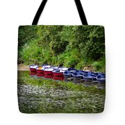 Red And Blue Boats On The River Coquet Tote Bag