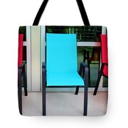 Red And Blue Chairs Tote Bag