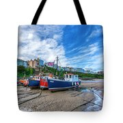 Red And Blue Fishing Trawler In Low Tide Tote Bag