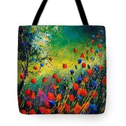 Red And Blue Poppies  Tote Bag