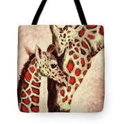 Red And Brown Giraffes Tote Bag