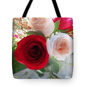 Red And Cream Tea Roses In Crystal Tote Bag