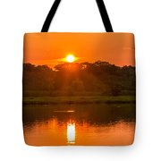 Red And Orange Jungle Sunset Tote Bag