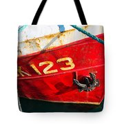 Red And White Boat Detail Tote Bag