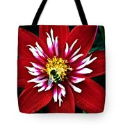 Red And White Flower With Bee Tote Bag