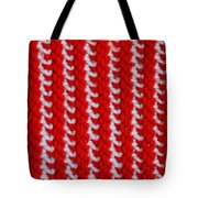 Red And White Knit Tote Bag