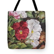 Red And White Pansies Tote Bag