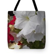 Red And White Petunias Tote Bag