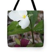 Red And White Trillium Tote Bag