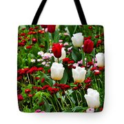 Red And White Tulips With Red And Pink English Daisies In Spring Tote Bag