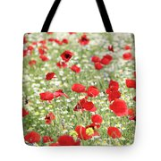 Red And White Wild Flowers Spring Scene Tote Bag