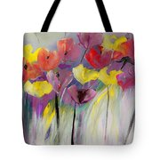Red And Yellow Floral Field Painting Tote Bag