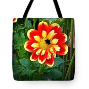 Red And Yellow Flower With Bee Tote Bag