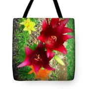 Red And Yellow Garden Flowers Tote Bag