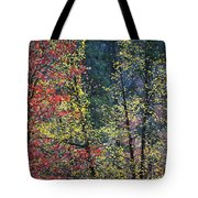 Red And Yellow Leaves Abstract Vertical Number 2 Tote Bag