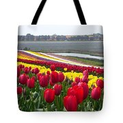 Red And Yellow Tulip Fields Tote Bag