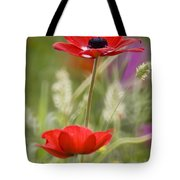 Red Anemone Coronaria In Nature Tote Bag