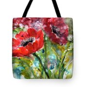 Red Anemone Flowers Tote Bag