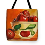 Red Apples In Vintage Watt Yellowware Bowl Tote Bag