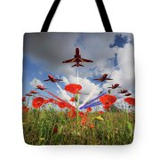 Red Arrows Poppy Fly Past Tote Bag