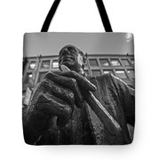 Red Auerbach Chilling At Fanueil Hall Black And White Tote Bag