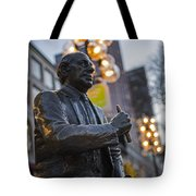 Red Auerbach Chilling At Fanueil Hall Side Tote Bag