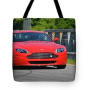 Red Auston Martin Leaving Pit Lane Tote Bag