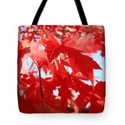 Red Autumn Leaves Art Prints Canvas Fall Leaves Baslee Troutman Tote Bag