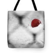 Red Ball In The Snow Tote Bag