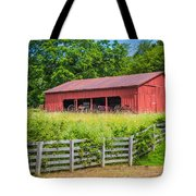 Red Barn Along The Fence Tote Bag