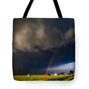 Red Barn And Rainbow Tote Bag