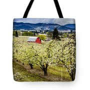 Red Barn And The Pear Orchards Tote Bag