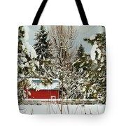 Red Barn At Christmas Tote Bag