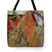 Red Barn Behind The Trees Tote Bag
