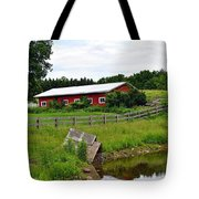 Red Barn By The Lake Tote Bag
