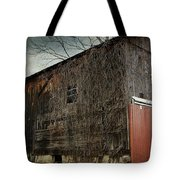 Red Barn Doors Tote Bag by Stephanie Calhoun