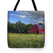 Red Barn In A Yellow Field  Tote Bag