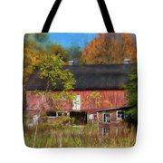 Red Barn In October Tote Bag