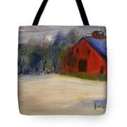 Red Barn In Snow  Tote Bag by Steve Jorde