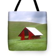 Red Barn In Spring Tote Bag