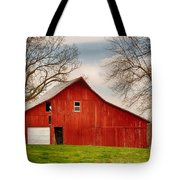 Red Barn In The Blue Sky Tote Bag