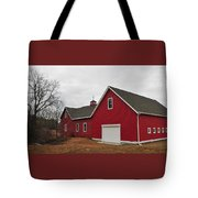 Red Barn On A Grey Day Tote Bag