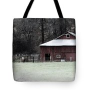 Red Barn On The Drive Tote Bag