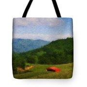 Red Barn On The Mountain Tote Bag