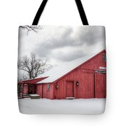 Red Barn On Wintry Day Tote Bag
