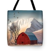 Red Barn Snow Western - Countryside Painting Tote Bag