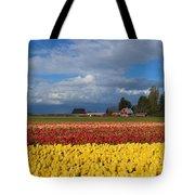 Red Barn Tulip Farm Tote Bag