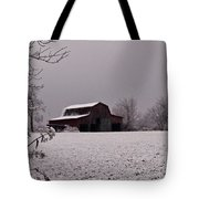 Red Barn Under Snow Tote Bag