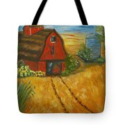 Red Barn- Wheat Field- Down Home Tote Bag